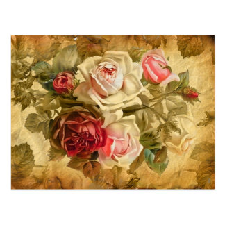 Manojo hermoso de rosas en fondo del vintage postales