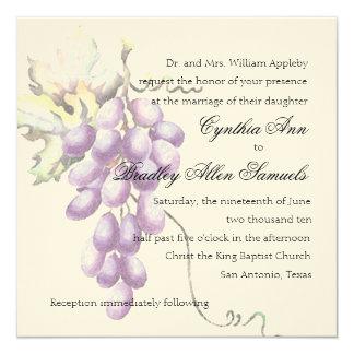 Manojo púrpura cuadrado de la invitación de uvas invitación 13,3 cm x 13,3cm
