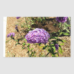 Manojo púrpura de la flor rectangular pegatina