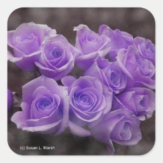 Manojo subió colorized púrpura calcomanía cuadradas personalizada