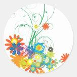manojos de la flor de vector de los remolinos pegatina redonda