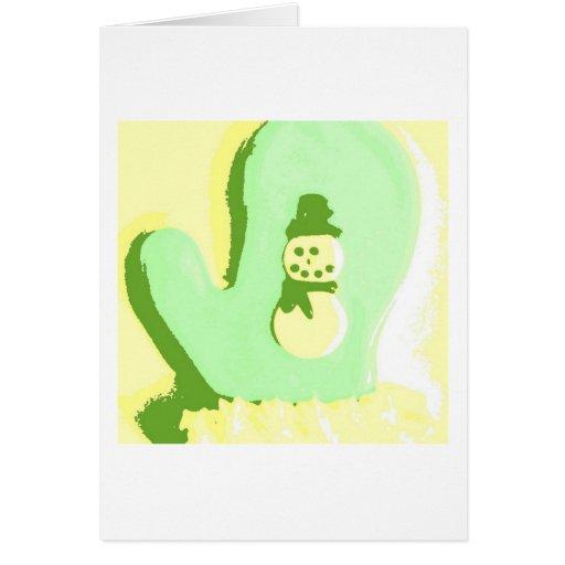 Manopla del muñeco de nieve del arte pop tarjeta de felicitación