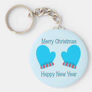 Manoplas azules del día de fiesta (Año Nuevo de la Llavero Redondo Tipo Pin