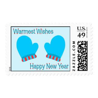 Manoplas azules del día de fiesta (deseos sello postal