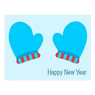 Manoplas azules del día de fiesta (Feliz Año Tarjeta Postal