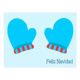 Manoplas azules del día de fiesta (Feliz Navidad) Tarjetas Postales