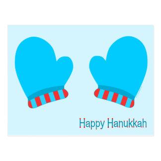 Manoplas azules del día de fiesta (Jánuca feliz) Tarjetas Postales