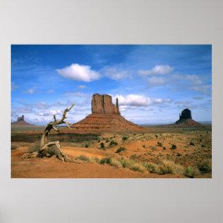 Manoplas coloridas del valle del monumento en Utah Póster