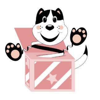 Manoplas del gato de Skrunchkin en caja rosada Escultura Fotografica