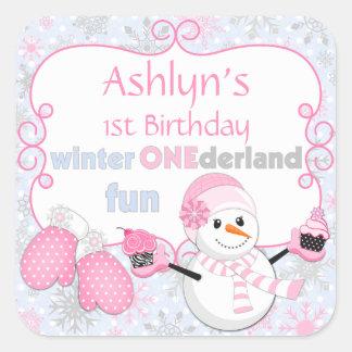 Manoplas del muñeco de nieve del cumpleaños de calcomanía cuadrada personalizada