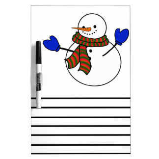 Manoplas felices del muñeco de nieve w/Blue del Pizarra Blanca