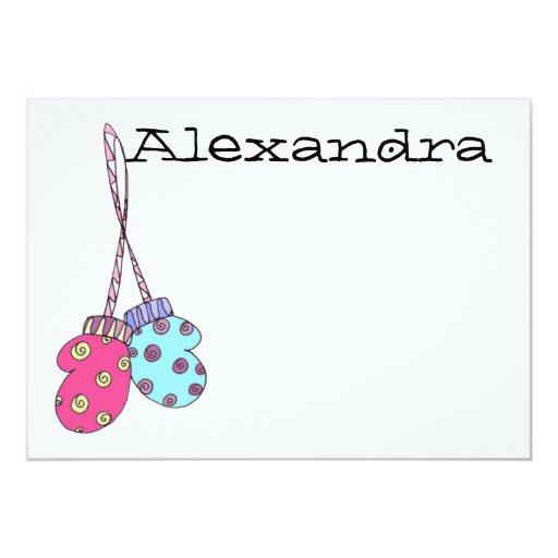 """¡Manoplas! Nota plana personalizada - Alexandra Invitación 5"""" X 7"""""""