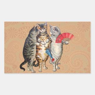 Manoplas perdidas de los pequeños gatitos del pegatina rectangular