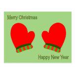 Manoplas rojas del día de fiesta (Año Nuevo de la Postal