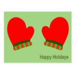 Manoplas rojas del día de fiesta (buenas fiestas) tarjeta postal