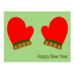 Manoplas rojas del día de fiesta (Feliz Año Nuevo) Postales