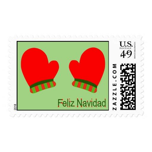 Manoplas rojas del día de fiesta (Feliz Navidad) Sellos Postales