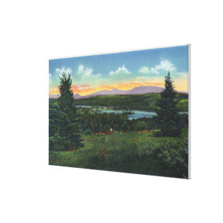 Manor Hill Overlooking Rangeley Village Scene Gallery Wrapped Canvas