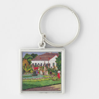 Manor House in Kertvelyes, 1907 Keychain