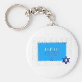 manorah star basic round button keychain