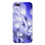 Manos amigas azules metálicas iPhone 5 cárcasas