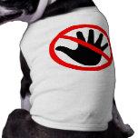Manos apagado camisetas de perro