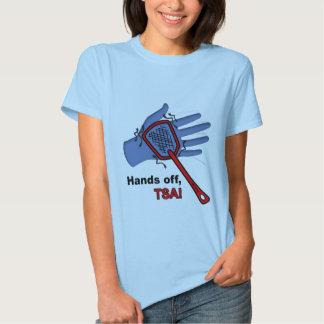 ¡Manos apagado, TSA! Hembra de la camiseta Polera