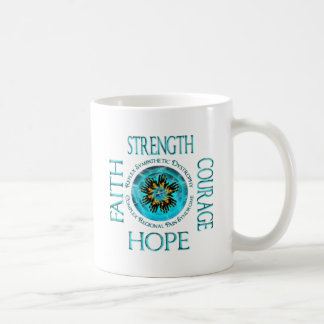Manos ardientes de la esperanza de la fuerza del taza