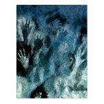 Manos azules tarjeta postal