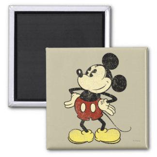 Manos clásicas del vintage de Mickey el | en Imán Cuadrado
