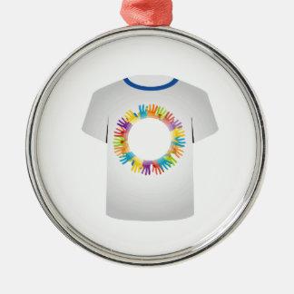 manos coloridas gráficas de la camiseta adorno navideño redondo de metal