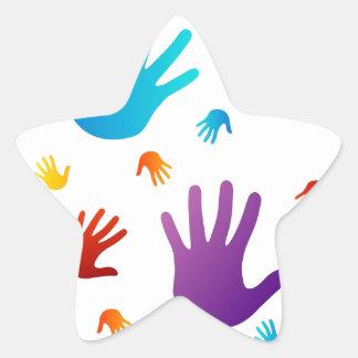 manos coloridas pegatina en forma de estrella