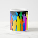 Manos coloridas taza extra grande