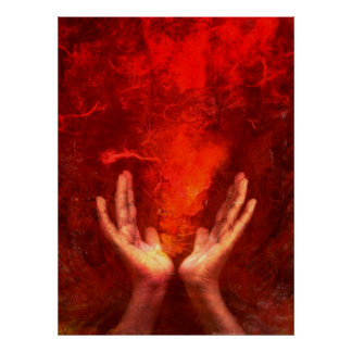 Manos curativas con la energía roja llameante Reik Póster