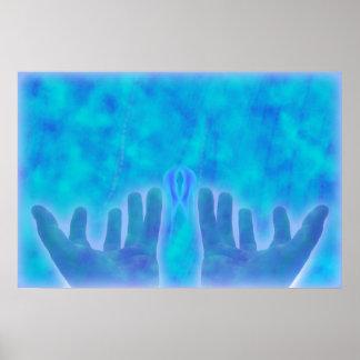 manos curativas de la energía azul por amor curati póster