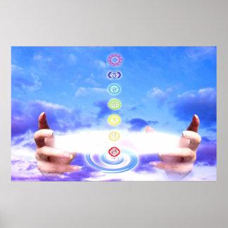 Manos curativas, energía, símbolos del chakra, azu póster
