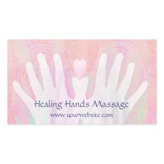 Manos curativas rosas claras tarjeta personal