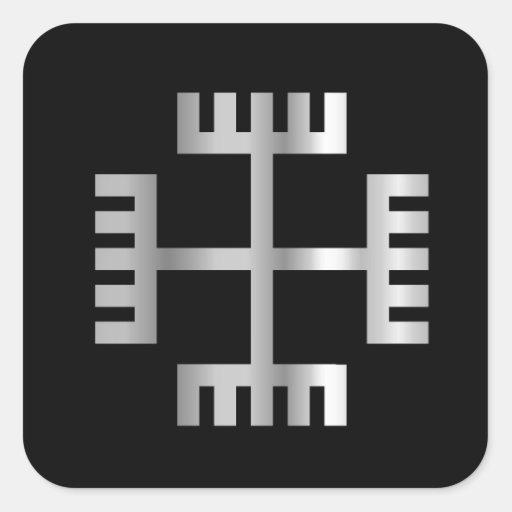 Manos de dios, un símbolo de Neopaganism polaco Calcomania Cuadradas Personalizadas
