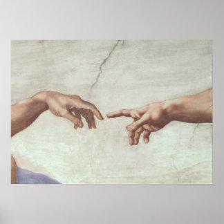 Manos de dios y de Adán Poster