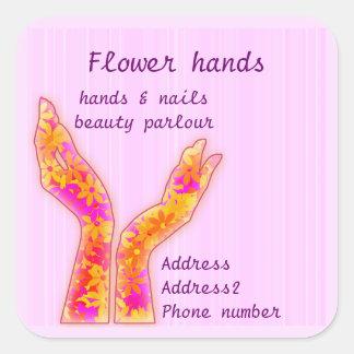 manos de la flor pegatina cuadrada