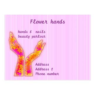 manos de la flor postales