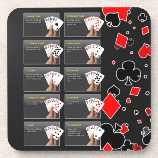 Manos de la graduación del póker posavasos