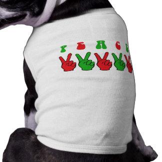 Manos de la paz de Navidad Playera Sin Mangas Para Perro