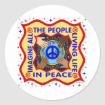 Manos de la paz etiqueta redonda