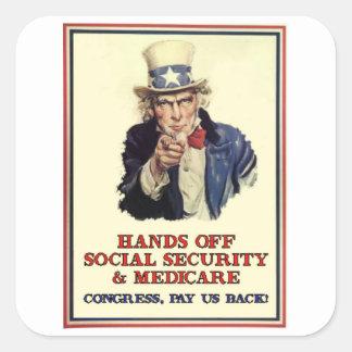 Manos de la Seguridad Social Pegatinas Cuadradases