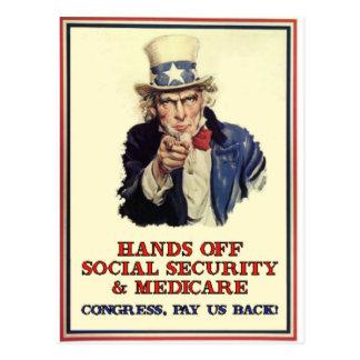 Manos de la Seguridad Social Tarjetas Postales