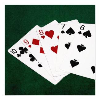 Manos de póker - derecho - diez a seis cojinete
