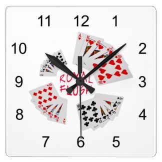 Manos de póker - escalera real reloj cuadrado
