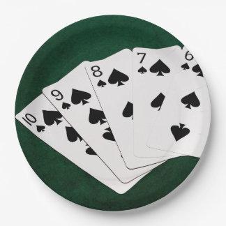Manos de póker - rubor recto - juego de las platos de papel