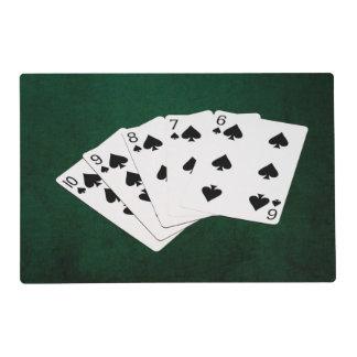 Manos de póker - rubor recto - juego de las tapete individual